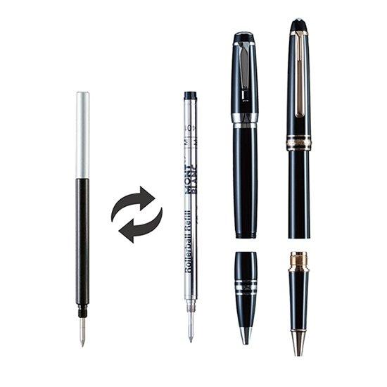 あなたのお気に入りのペンに国産ボールペンカートリッジを。そんな夢のアダプタ、ご要望にお応えして、Montblancの銘品ボールペン、ローラーボールに対応したアダプターが新発売です。