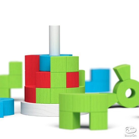 木製のピース15個を組み合わせて、シリンダーを作る。解答は22