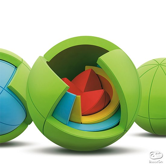 4層、4色、21個のパーツを組み合わせて、きれいなボールを組み立てよう!国際的な玩具やデザイン賞を受賞した、最新3D球体パズルの登場。