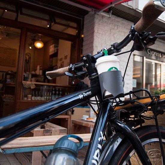 あなたの自転車で「ちょっと運ぶ」に対応しました。コーヒーショップやコンビニのテイクアウト用コーヒーカップ専用のフォルダー。