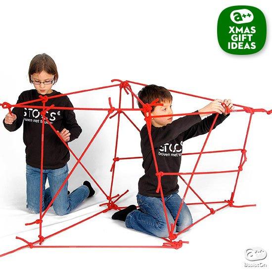 結んで作る。形を考える。構造を工夫する。手作業で立体物を組み立てることで「構造力学」を学んでいくことができる、オランダ生まれの新しい玩具。
